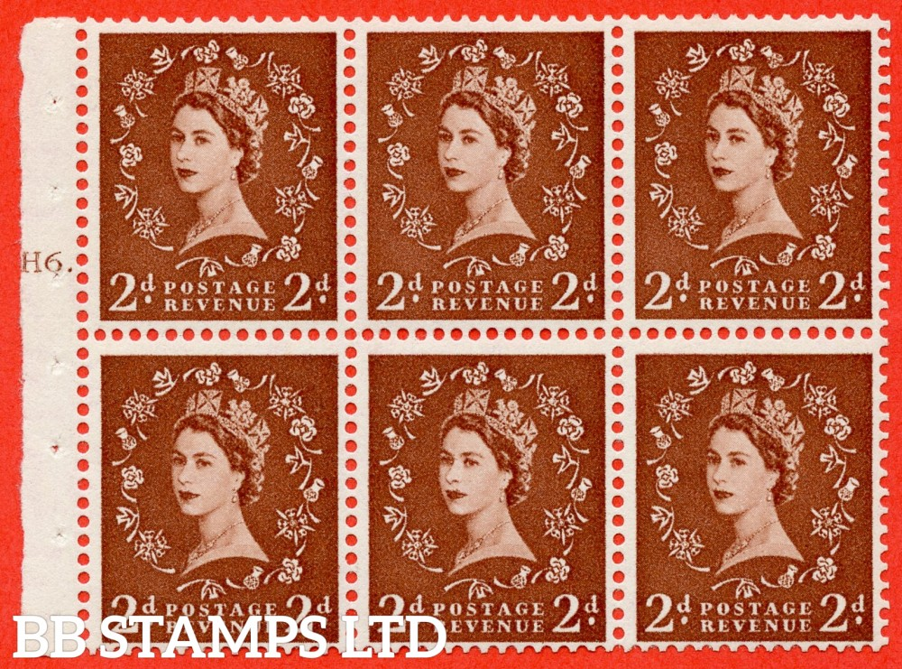 "SG. 543b. SB78. 2d Light red-brown. A fine UNMOUNTED MINTcylinder "" H6 T dot "" booklet pane of 6. Perf type (Iet) with GOOD PERFS. Rough edge."