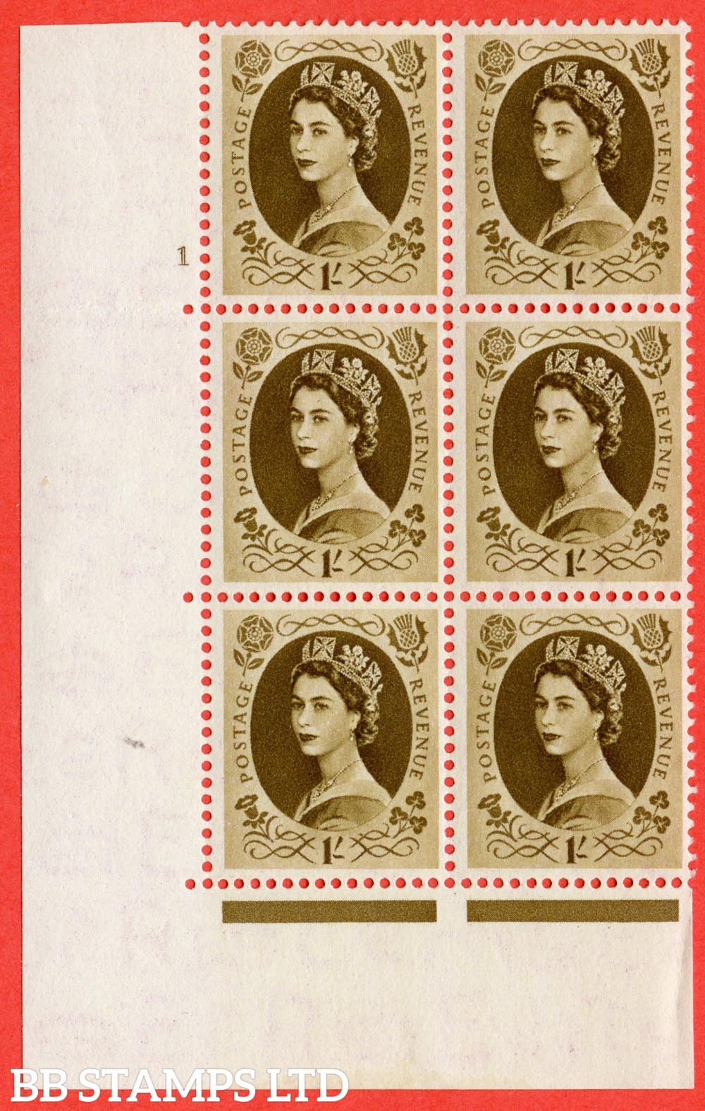 "SG. 529. S136. 1s Bistre-brown. A superb UNMOUNTED MINT "" cylinder 1 no dot "" control block of 6 with perf type A E/I."