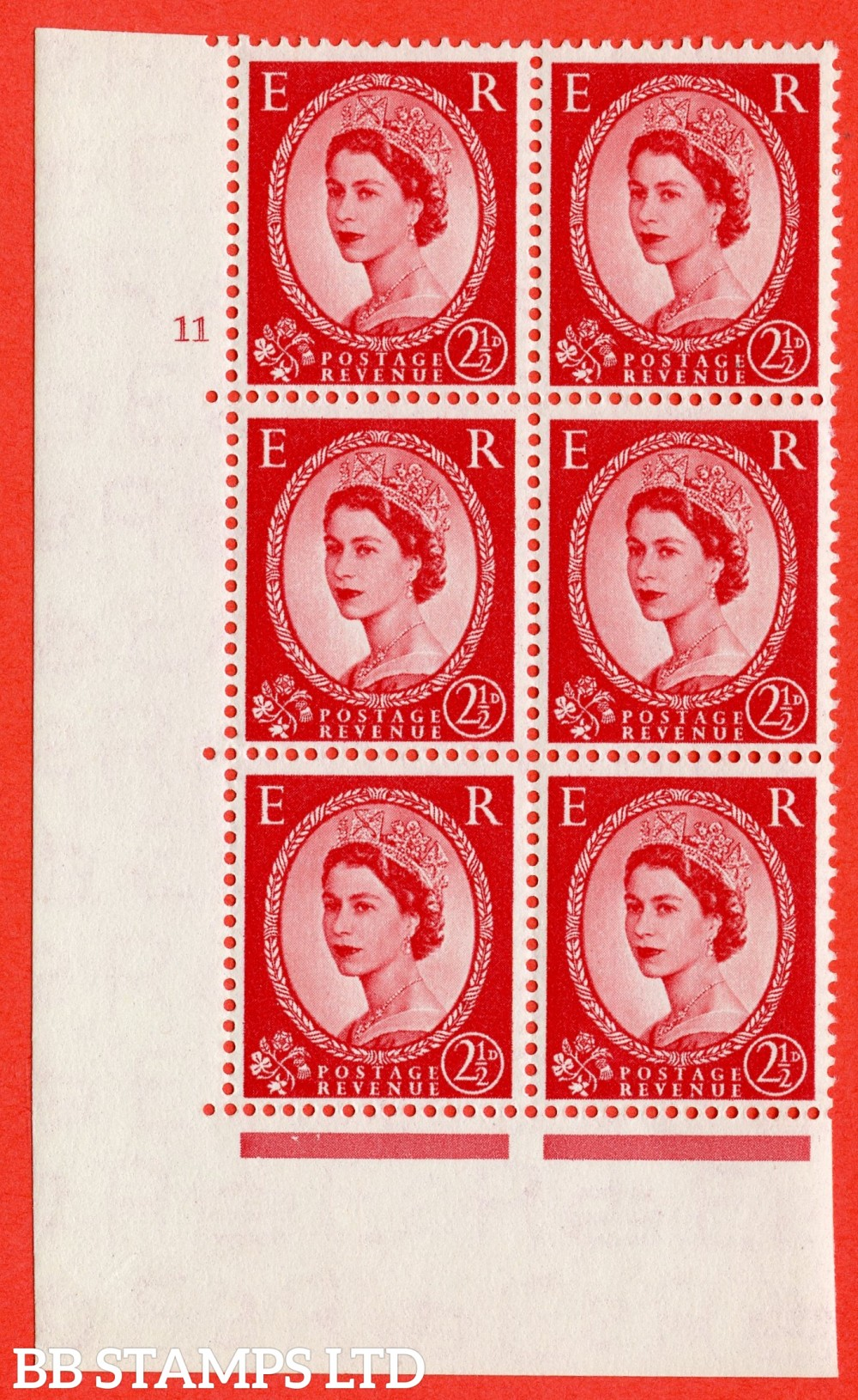"SG. 519. S50. 2½d Carmine Red. A superb UNMOUNTED MINT "" cylinder 11 no dot "" control block of 6 with perf type A E/I."