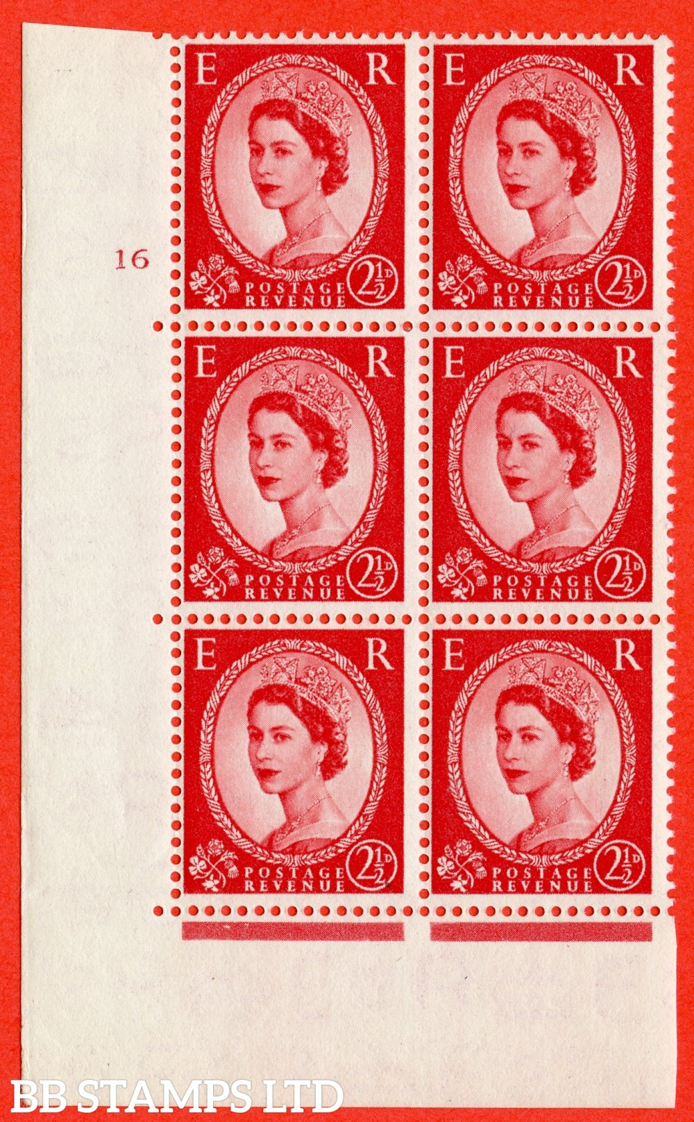 "SG. 519. S50. 2½d Carmine Red. A superb UNMOUNTED MINT "" cylinder 16 no dot "" control block of 6 with perf type A E/I."