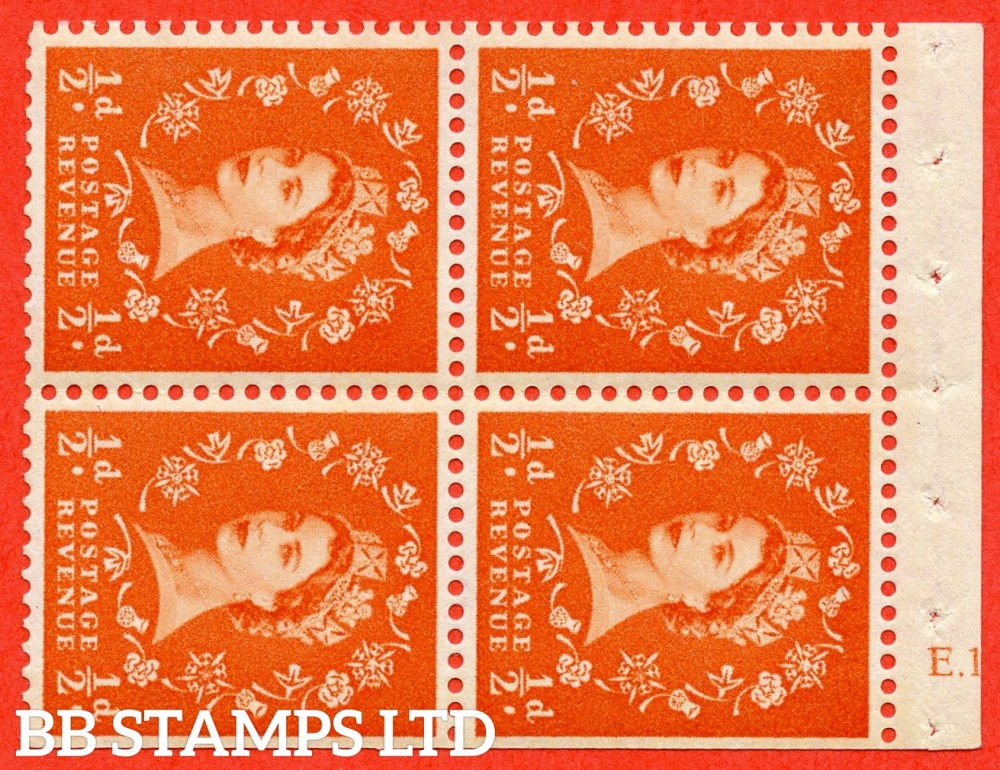 "SG. 610. SB18. ½d Orange Red. A fine UNMOUNTED MINT cylinder "" E.13 T no dot "" booklet pane of 4. Perf type (I) with TRIMMED PERFS. Smooth edge. Cream Paper."