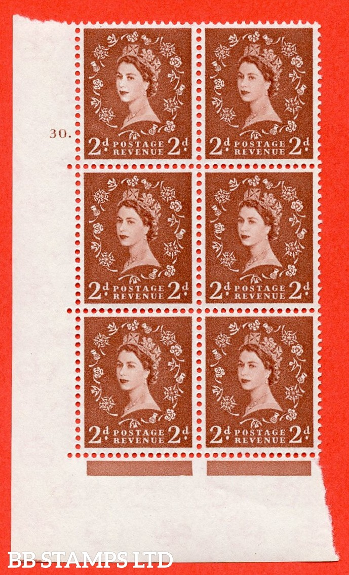 "SG. 573. S41. 2d Red - Brown. A superb UNMOUNTED MINT"" cylinder 30 dot "" control block of 6 with perf type A E/I. WHITE paper."