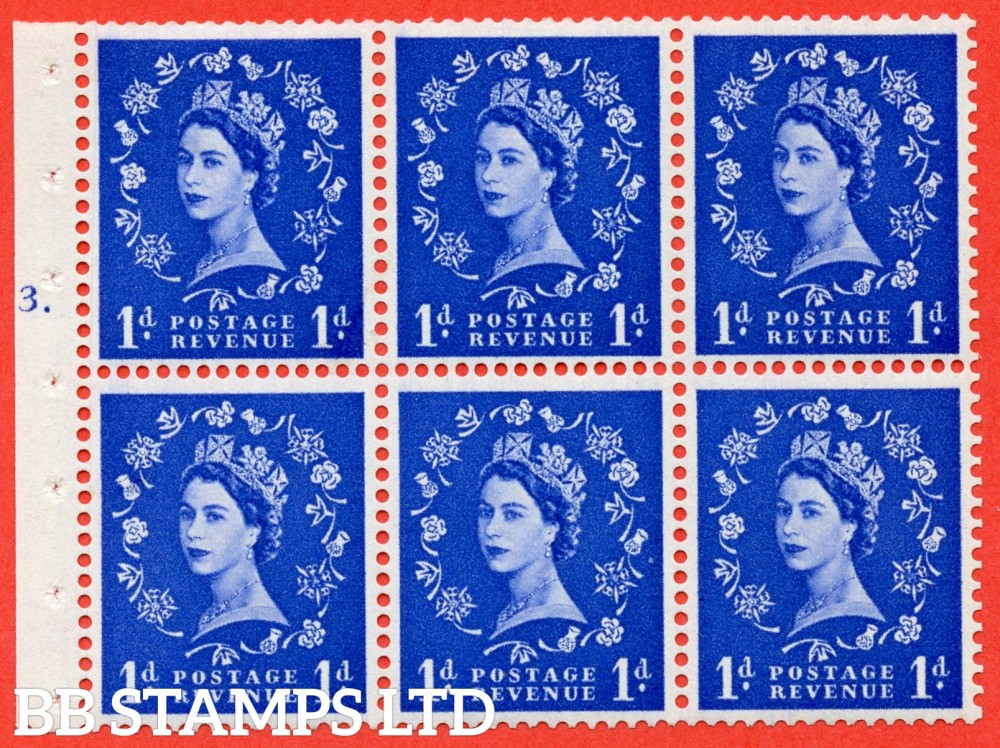 "SG. 541. SB26. 1d ultramarine. A fine mounted mint cylinder "" F3 T dot "" booklet pane of 6. Perf type (Ieb) with TRIMMED PERFS. Smooth edge."