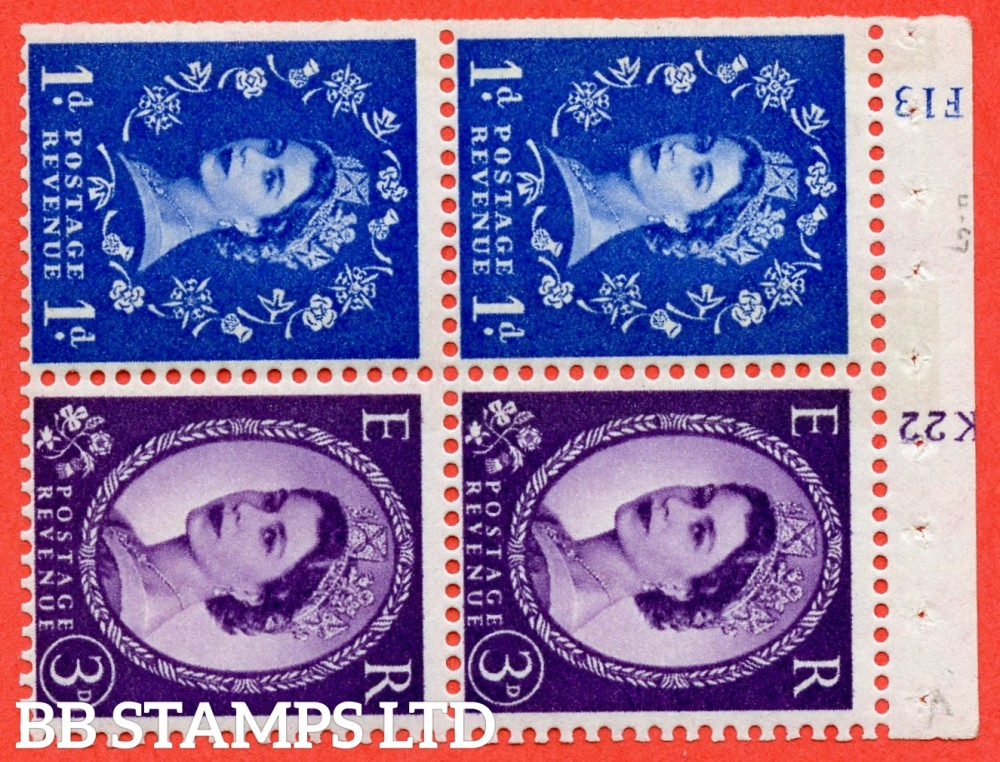 "SG. 611 / 615 . SB50. 1d Ultramarine & 3d Deep Lilac. A fine UNMOUNTED MINT cylinder "" F13 / K22 ( 8mm ) no dot "" booklet pane of 4. Perf type (I) with TRIMMED PERFS. Smooth edge. White Paper."