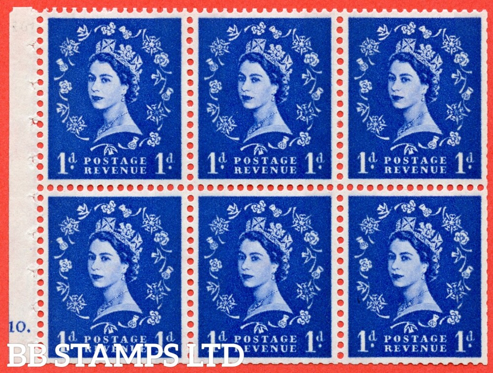 "SG. 611. SB54. 1d Ultramarine. A fine mounted mint cylinder "" F10 dot "" booklet pane of 6. Perf type (Iet) with TRIMMED PERFS. Smooth edge."