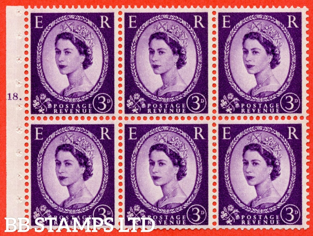 "SG. 615. SB99. 3d Deep Lilac. A fine UNMOUNTED MINT cylinder "" K18 T dot "" booklet pane of 6. Perf type (Ieb) with GOOD PERFS. Smooth edge. Cream Paper."