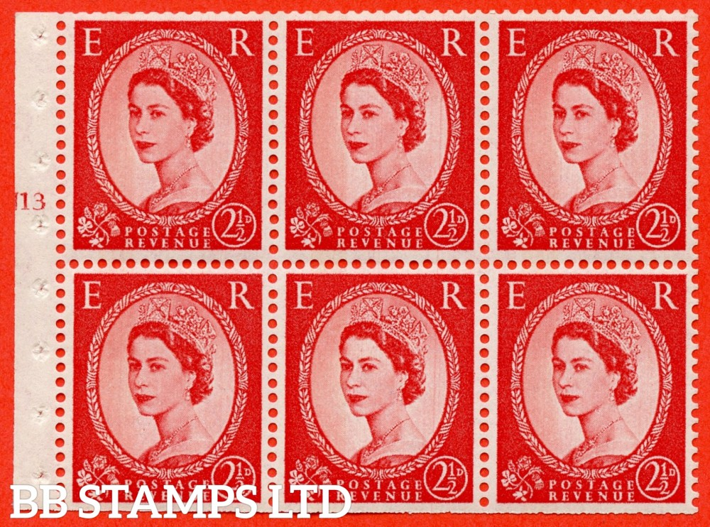 "SG. 614. SB88. 2½d Carmine Red Type II. A fine UNMOUNTED MINT cylinder "" J13 T no dot "" booklet pane of 6. Perf type (I) with TRIMMED PERFS. Smooth edge. Cream Paper."