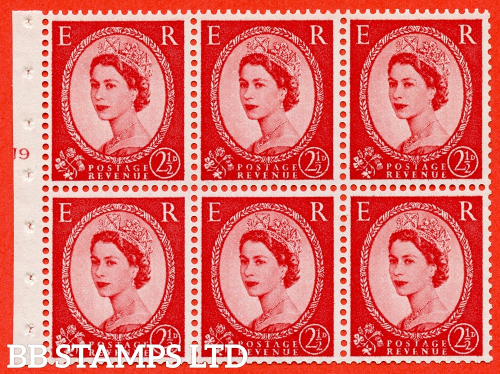 "SG. 544b. SB81. 2½d carmine - red. A fine UNMOUNTED MINT "" J9 T no dot "" booklet pane of 6. Perf type (Ieb) with GOOD PERFS. Smooth edge."