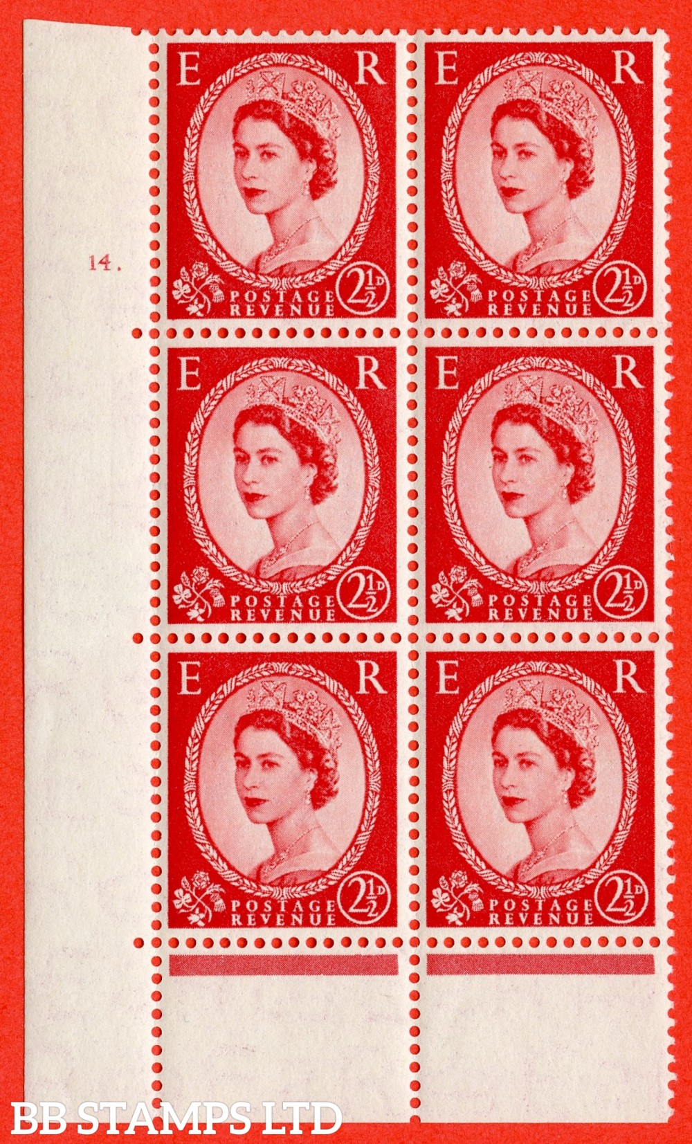 "SG. 519. S50. 2½d Carmine Red. A fine mounted mint "" cylinder 14 dot "" control block of 6 with perf type C E/P."