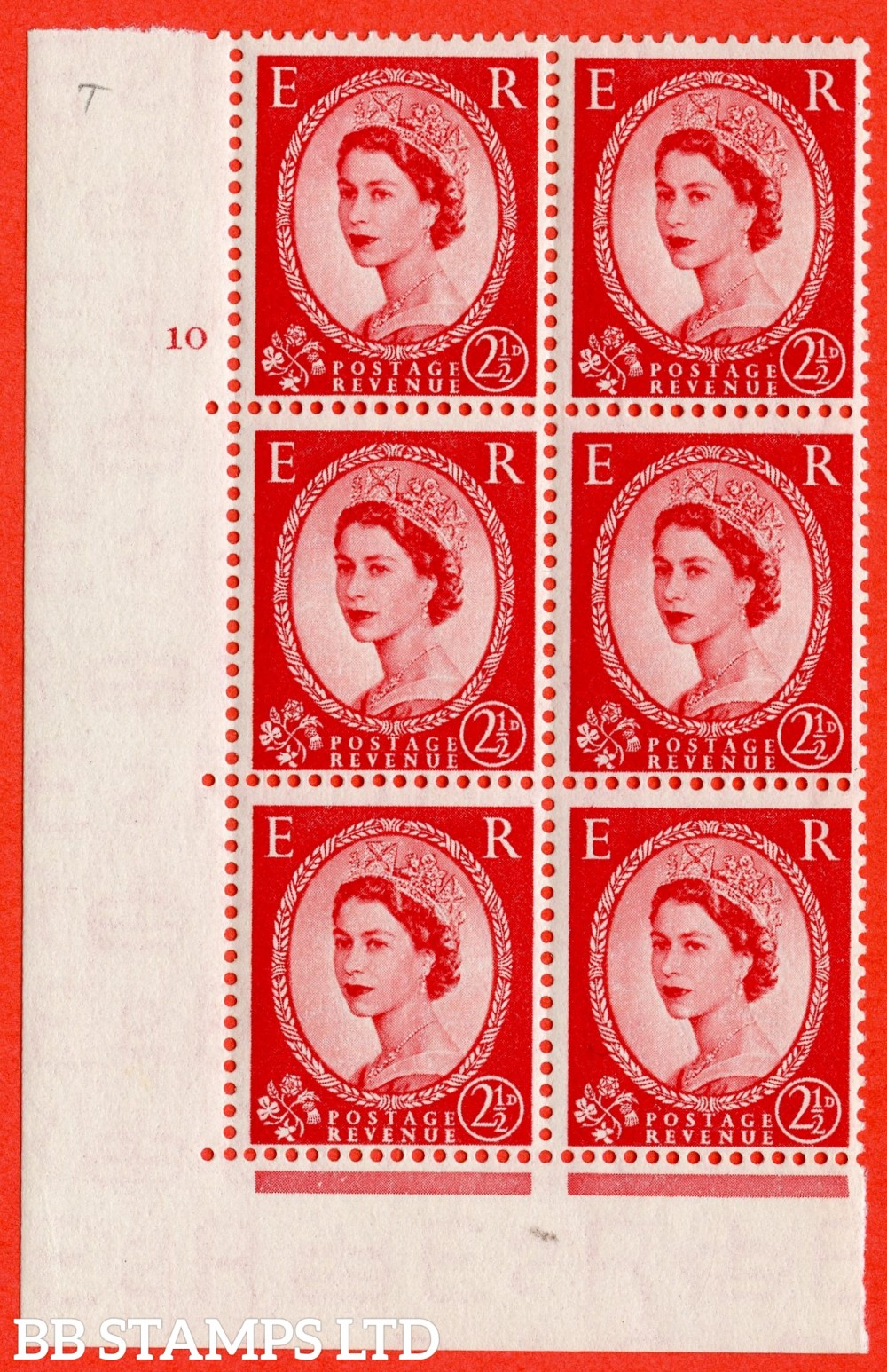 "SG. 519. S50. 2½d Carmine Red. A fine mounted mint "" cylinder 10 no dot "" control block of 6 with perf type A E/I."