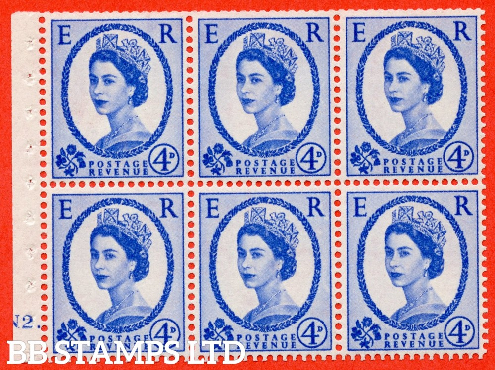 "SG. 576a. SB105. 4d Deep Ultramarine. A fine mounted mint cylinder "" N2 dot "" booklet pane of 6. Perf type (Iet) with TRIMMED PERFS. Smooth edge. White paper."