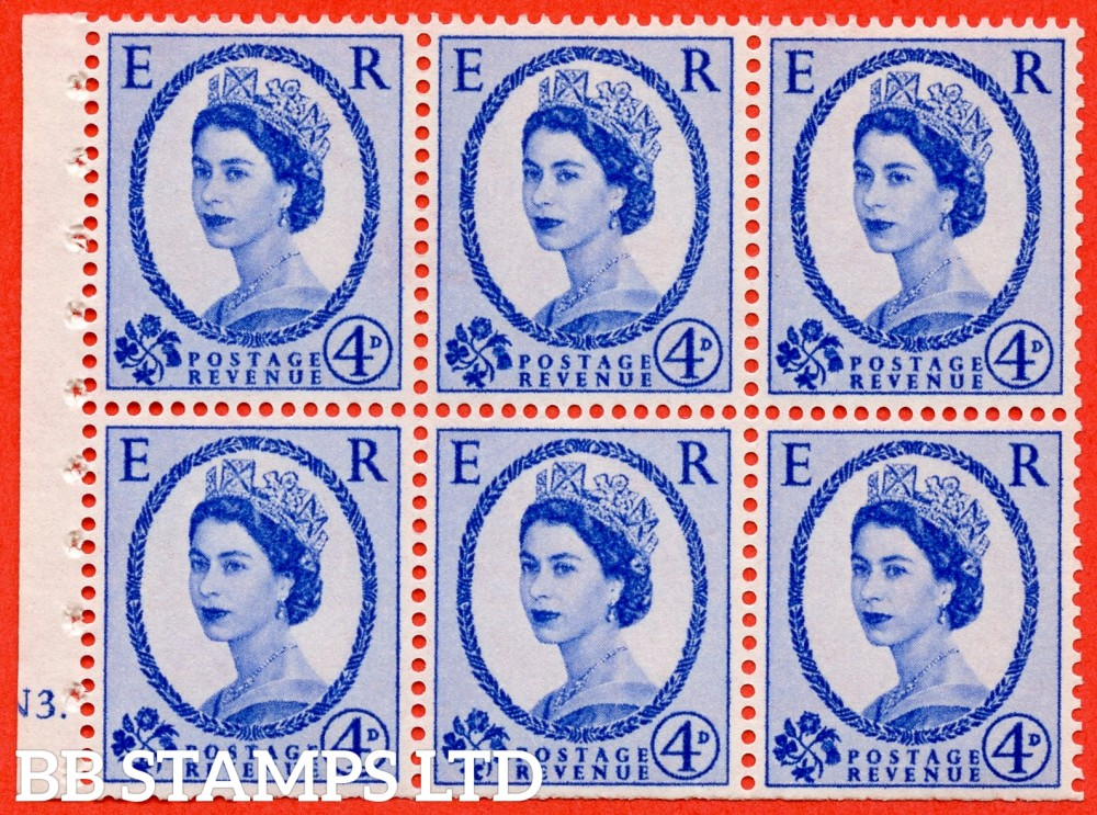 "SG. 576a. SB105. 4d Deep Ultramarine. A fine UNMOUNTED MINT cylinder "" N3 dot "" booklet pane of 6. Perf type (Ieb) with TRIMMED PERFS. Smooth edge."