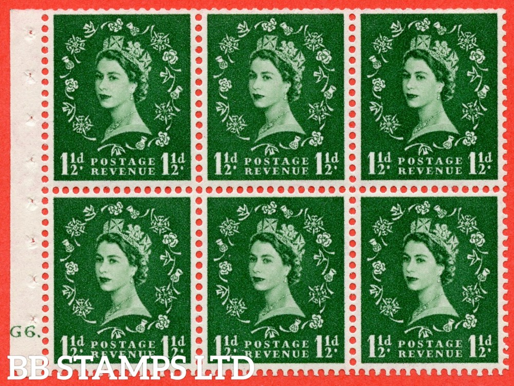 "SG. 517. SB59. 1½d green. A fine mounted mint cylinder "" G6 dot "" booklet pane of 6. Perf type (Ieb) with TRIMMED PERFS. Smooth edge."