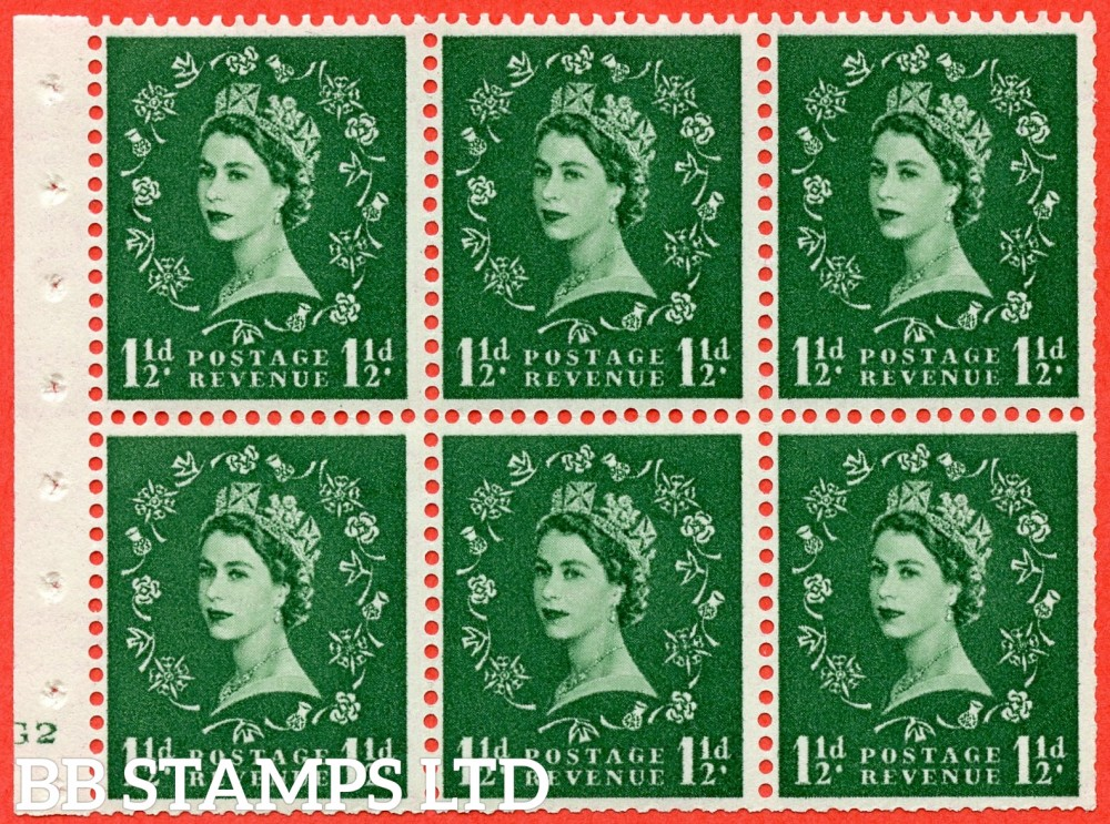 "SG. 517. SB59. 1½d green. A fine UNMOUNTED MINT cylinder "" G2 no dot "" booklet pane of 6. Perf type (I) with TRIMMED PERFS. Smooth edge."