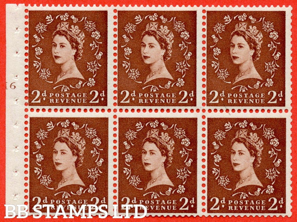 "SG. 543b. SB78. 2d Light red-brown. A fine UNMOUNTED MINTcylinder "" H6 T no dot "" booklet pane of 6. Perf type (I) with GOOD PERFS. Smooth edge."