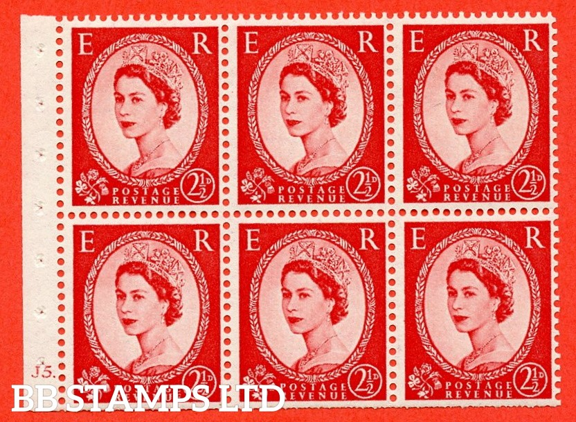 "SG. 544b. SB81. 2½d carmine - red. A fine mounted mint cylinder "" J5 dot "" booklet pane of 6. Perf type (Ieb) with TRIMMED PERFS. Smooth edge."