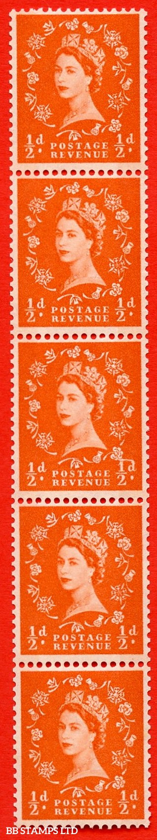 "SG.610. S12f. ½d Orange red. A superb UNMOUNTED MINT example. Coil strip of 5. violet Phosphor 8mm Band. With a ""D"" joined to shamrock ERROR. Roll 11 variety."