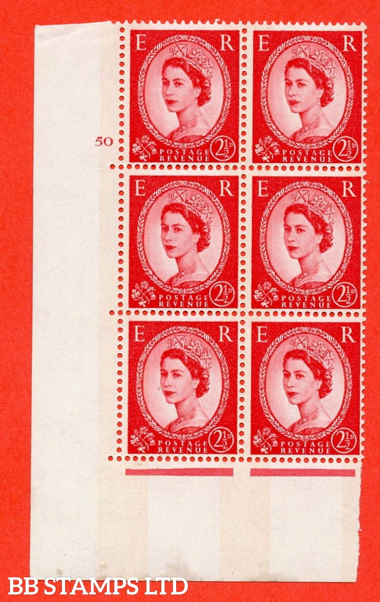 "SG.614. S62. 2½d Carmine red. A fine mounted mint "" cylinder 50 No dot "" control block of 6 with perf type A (E/I). Blue Phosphor Cream paper."