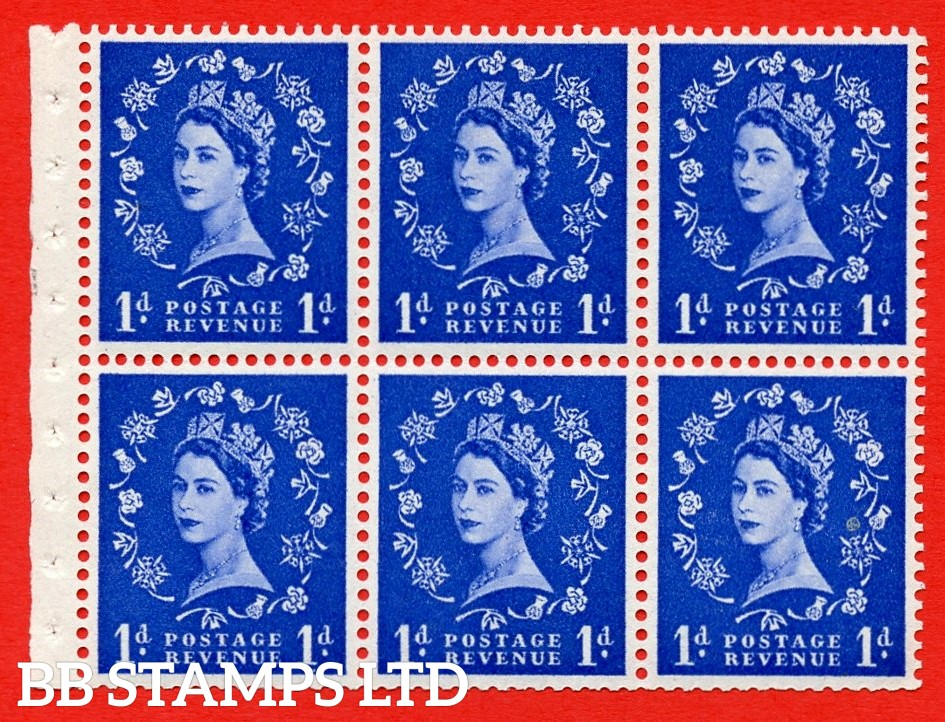 SG. 516L. SB20. 1d ultramarine. A fine UNMOUNTED MINT example. Complete Booklet pane of 6. Perf Type IR. Good Perfs.