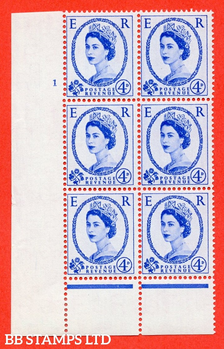 "SG. 546. S82. 4d. Ultramarine. A superb UNMOUNTED MINT "" cylinder 1 no dot "" control block of 6 with perf type B I/P."