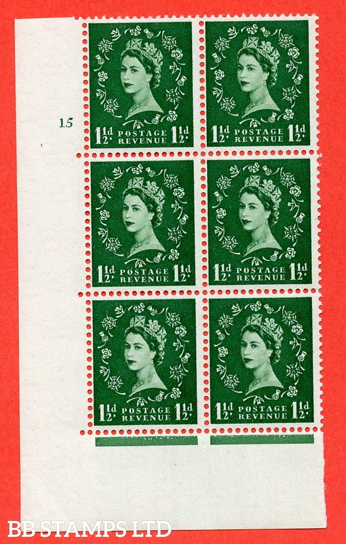 "SG. 542. S26. 1½d. Green. A superb UNMOUNTED MINT "" cylinder 15 no dot "" control block of 6 with perf type A E/I"