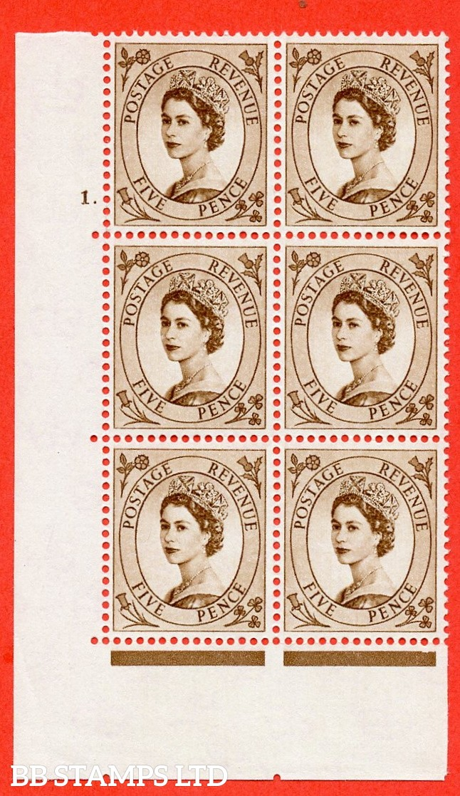 "SG. 578 S101. 5d Brown  A superb UNMOUNTED MINT "" cylinder 1 dot "" control block of 6 with perf type A (E/I)."