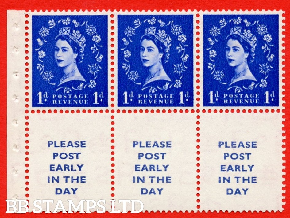 SG. 516La. SB24A. 1d ultramarine Modified setting. A fine UNMOUNTED MINT. Complete booklet pane of 6. Perf type (Ieb) with Good PERFS.