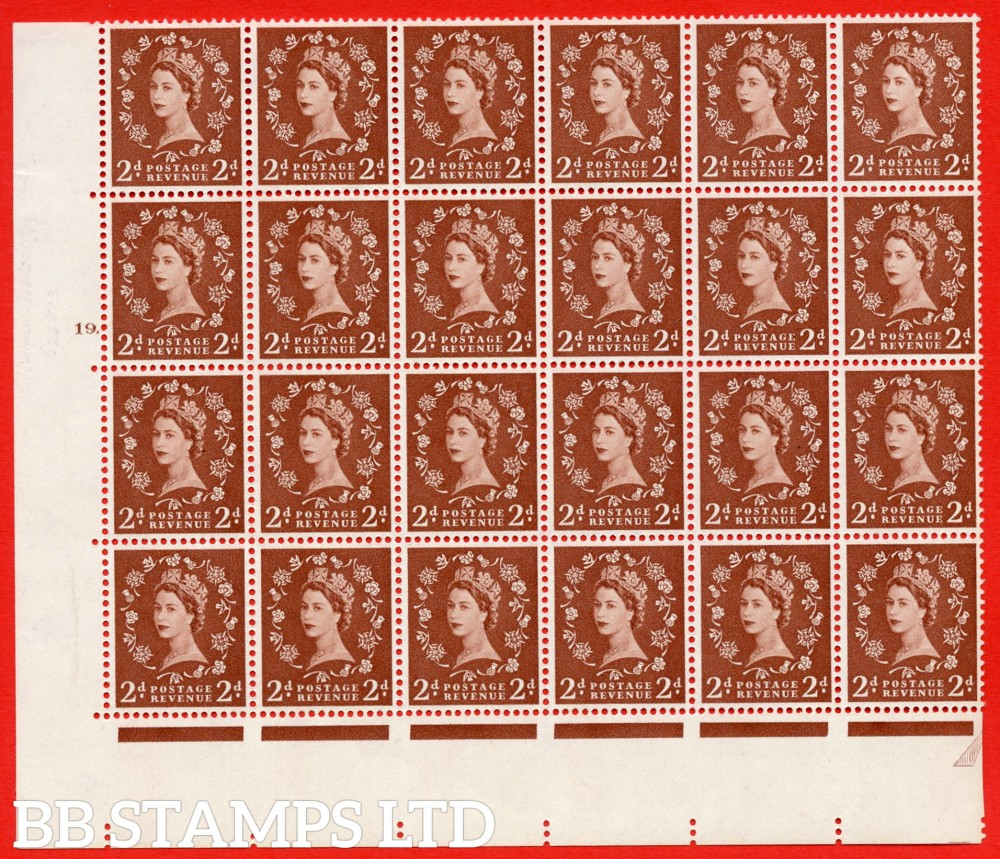 SG. 573. S40d. 2d light red brown . A superb UNMOUNTED MINT example. Bolck of 24 from cylinder 19 dot. Cream paper. With a Tadpole retouch ERROR. R.17/6