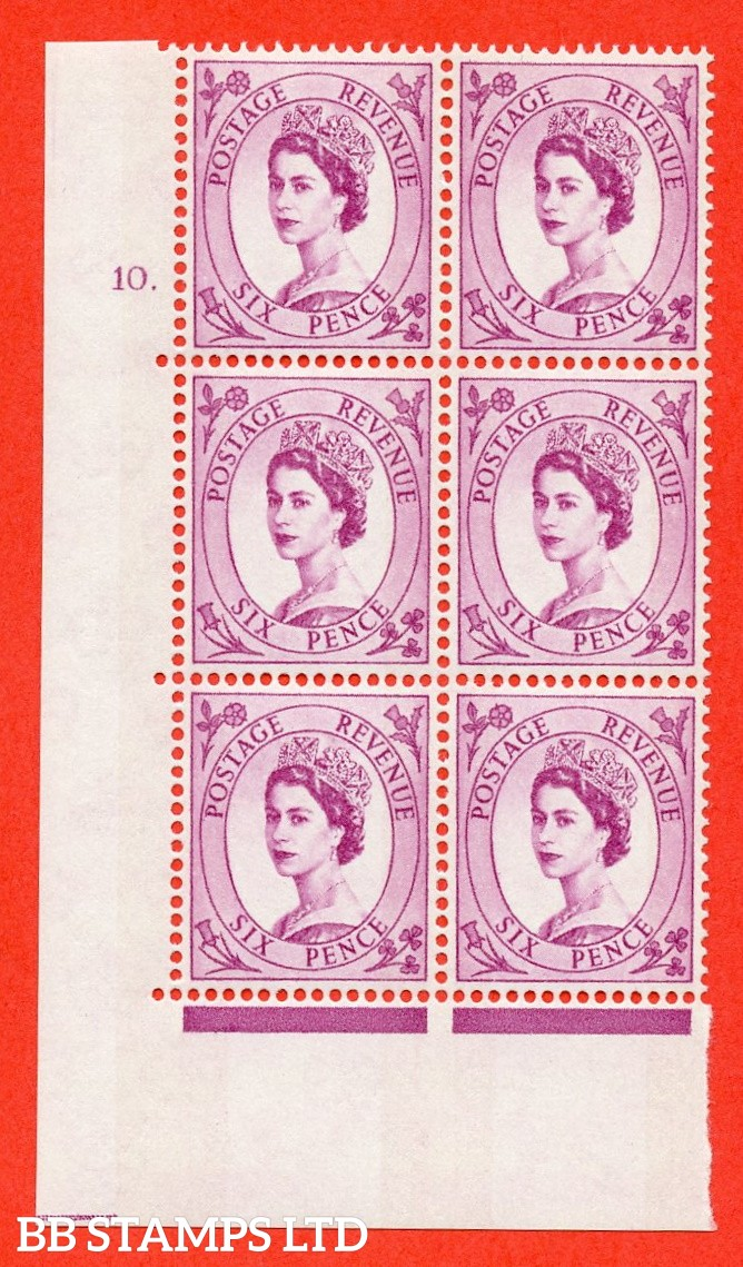"SG.617. S111. 6d Deep Claret. Photo.  A fine mounted mint "" cylinder 10 dot "" control block of 6 with perf type A (E/I). Blue Phosphor White paper."
