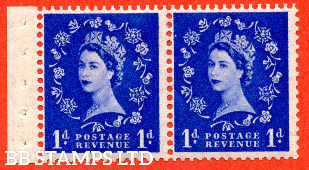 SG. 516. SB22. 1d Ultramarine. A fine UNMOUNTED MINT. Complete booklet pane of 2 with perf type I. Good perfs.
