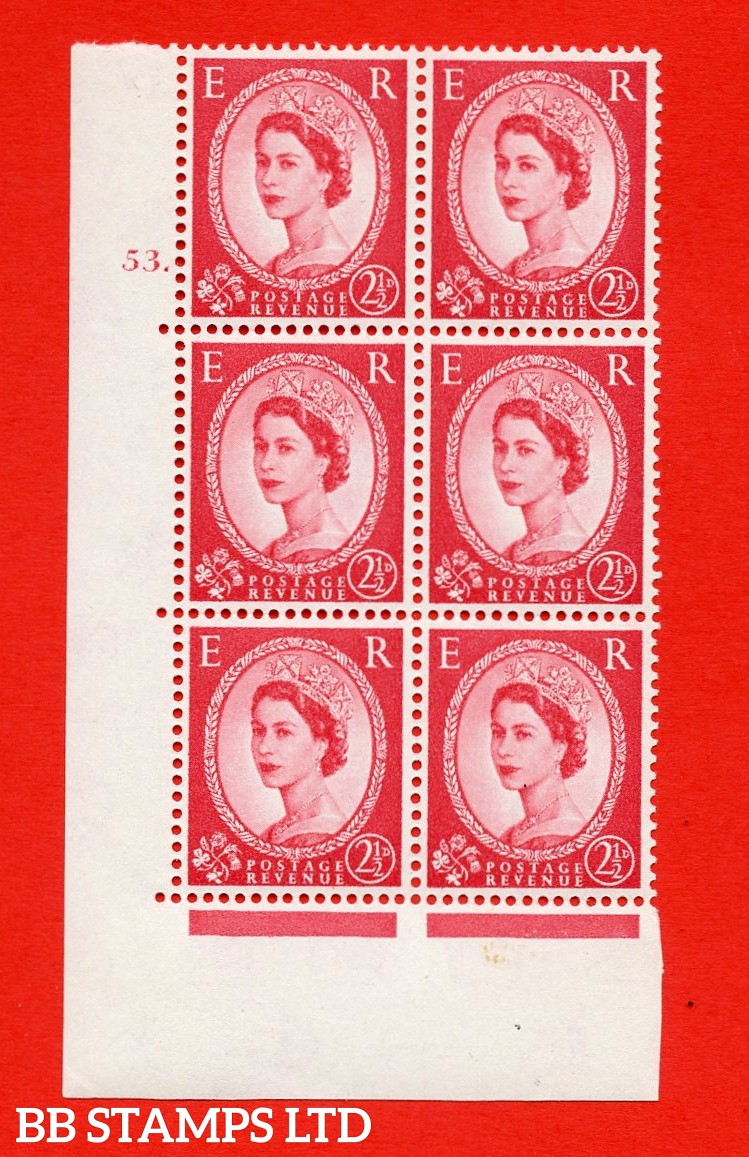 "SG. 574. S55. 2½d Carmine - red.Type II. A superb UNMOUNTED MINT "" cylinder 53 dot "" control block of 6 with perf type A E/I. CREAM paper."