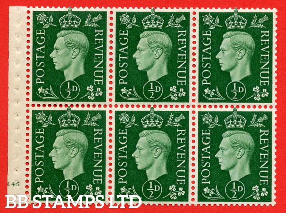 SG. QB1 Perf Type B3(I). ½d Green x 6 Pane, UNMOUNTED MINT Watermark Upright. Cylinder Pane E45 no dot ( SG. 462b ) Perf Type B3(I). Good Perfs.