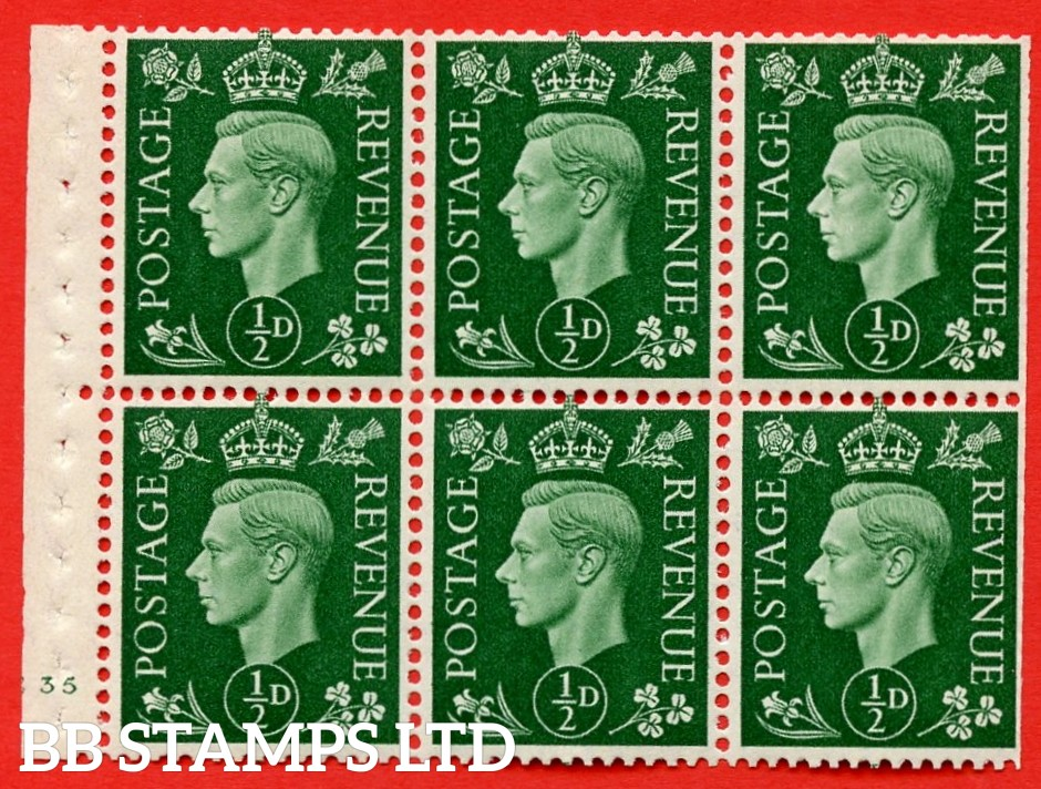 SG. QB1 Perf Type B4(E). ½d Green x 6 Pane, UNMOUNTED MINT Watermark Upright. Cylinder Pane E35 no dot ( SG. 462b ) Perf Type B4(E). Trimmed Perfs.