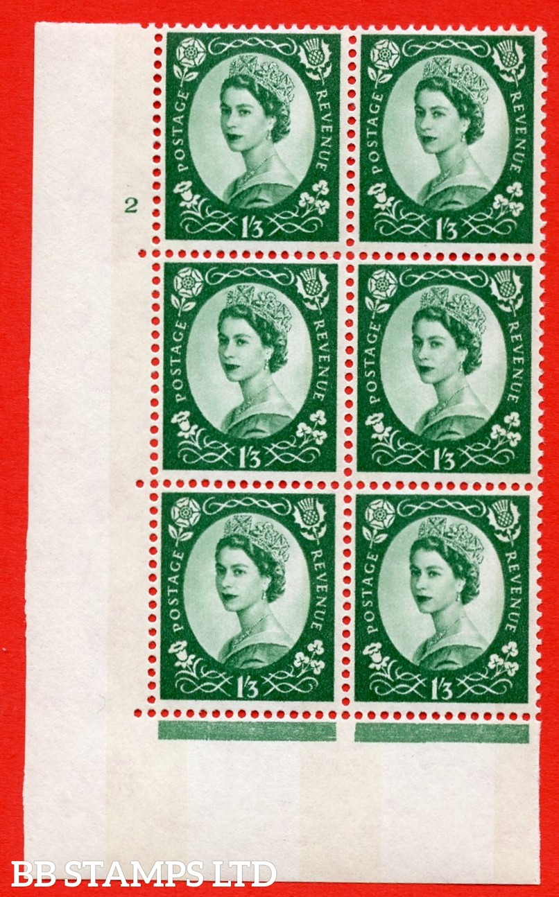 "SG.618. S148b. 1/_3d Green. Photo A superb UNMOUNTED MINT "" cylinder 2 no dot "" control block of 6 with perf type A (E/I). violet Phosphor 8mm Band."