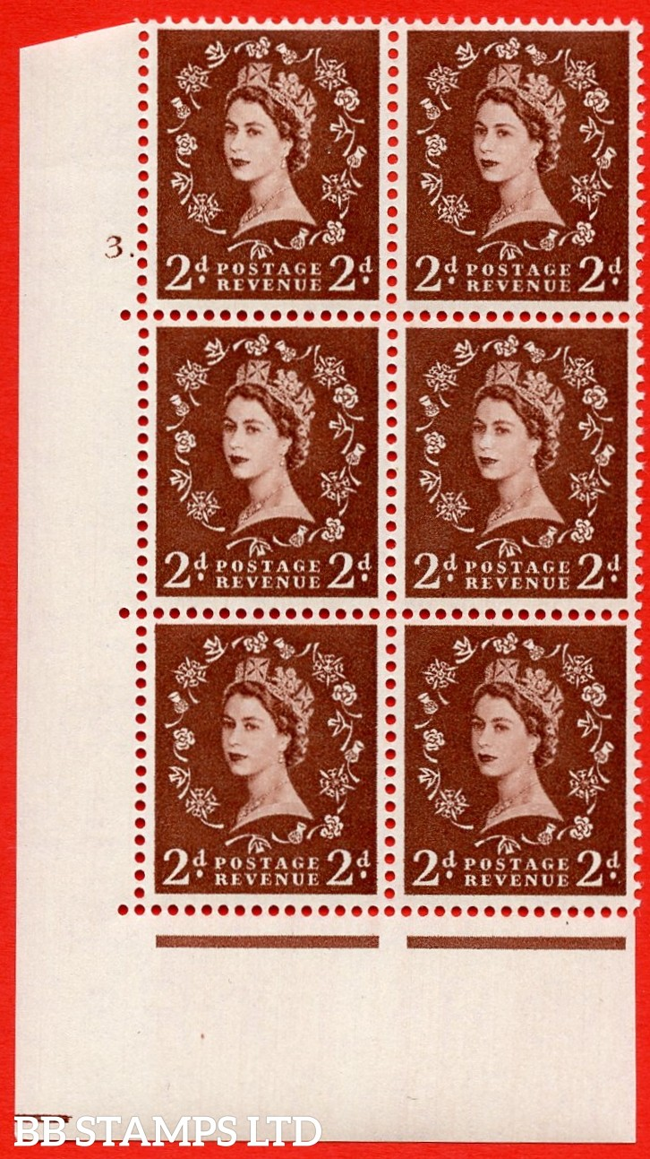 "SG. 543. S37. 2d. Red-brown. A superb UNMOUNTED MINT "" cylinder 3 no dot "" control block of 6 with perf type A E/I."