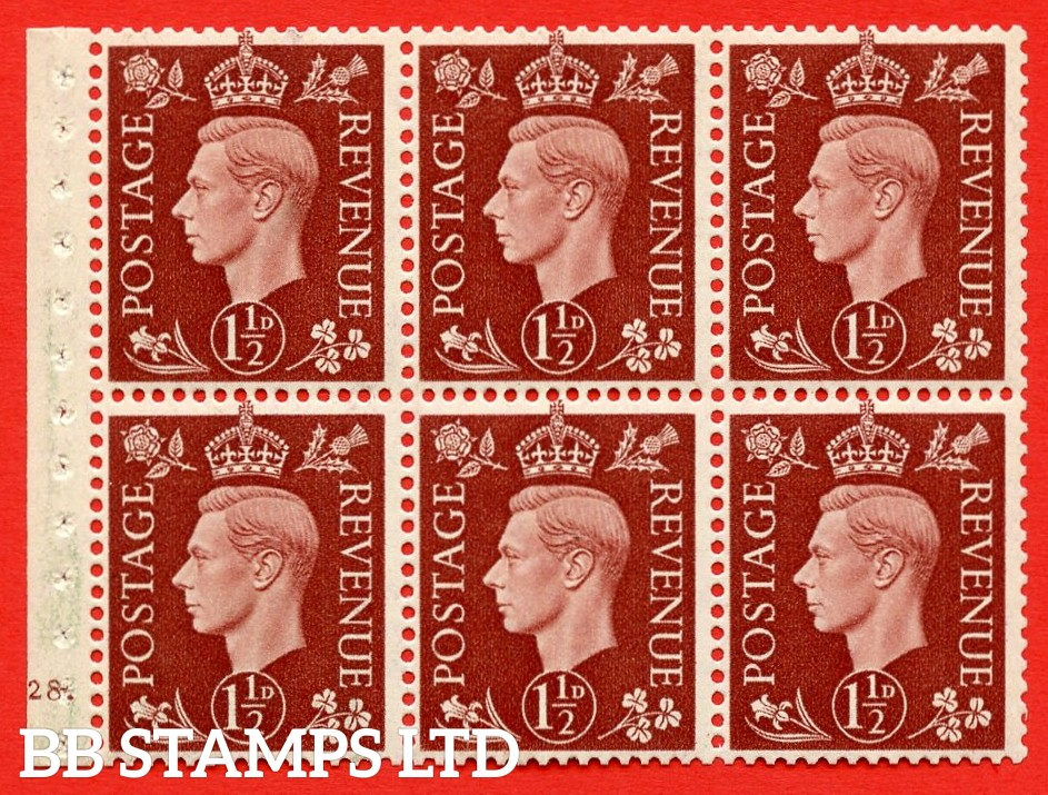 QB21 Perf Type B4A(I) 1½d Red-Brown x 6 Pane, MOUNTED MINT Watermark Upright. Cylinder Pane G28 dot ( SG. 464c ) Perf type B4A(I). Good Perfs.