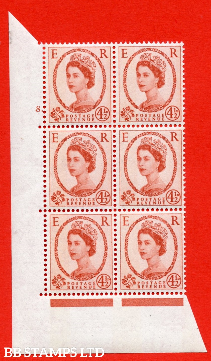 "SG.616b. S98a. 4½d Chestnut. Photo. Letterpress. A superb UNMOUNTED MINT "" cylinder 8 dot "" control block of 6 with perf type A (E/I). Blue Phosphor White paper."