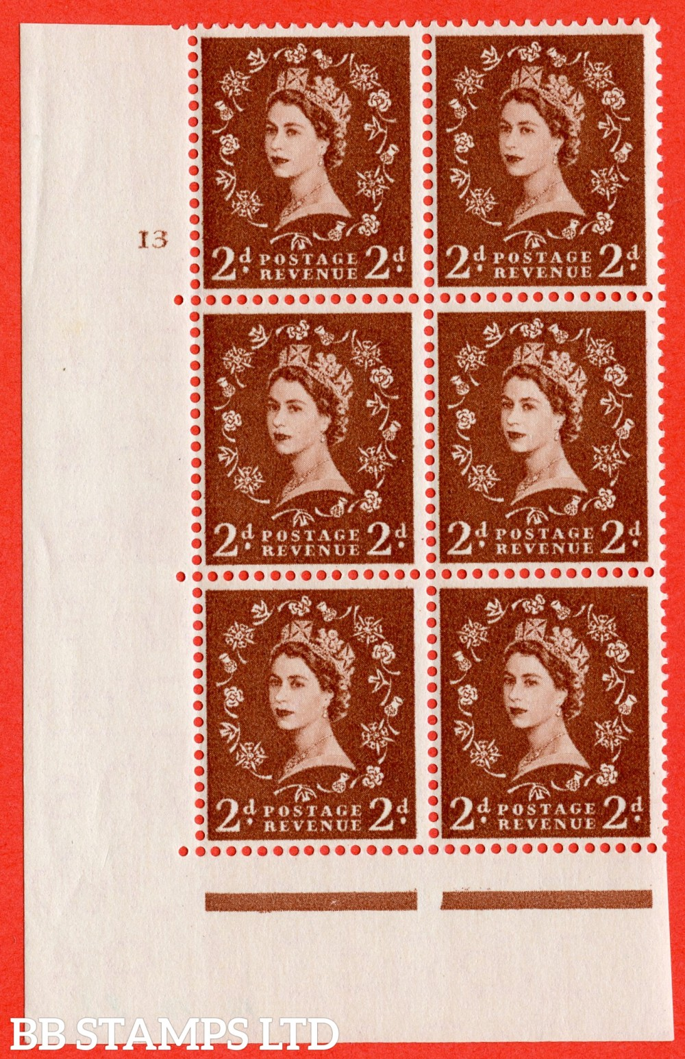 "SG. 543b. S38. 2d. Light Red-brown. A superb UNMOUNTED MINT "" cylinder 13 no dot "" control block of 6 with perf type A E/I."
