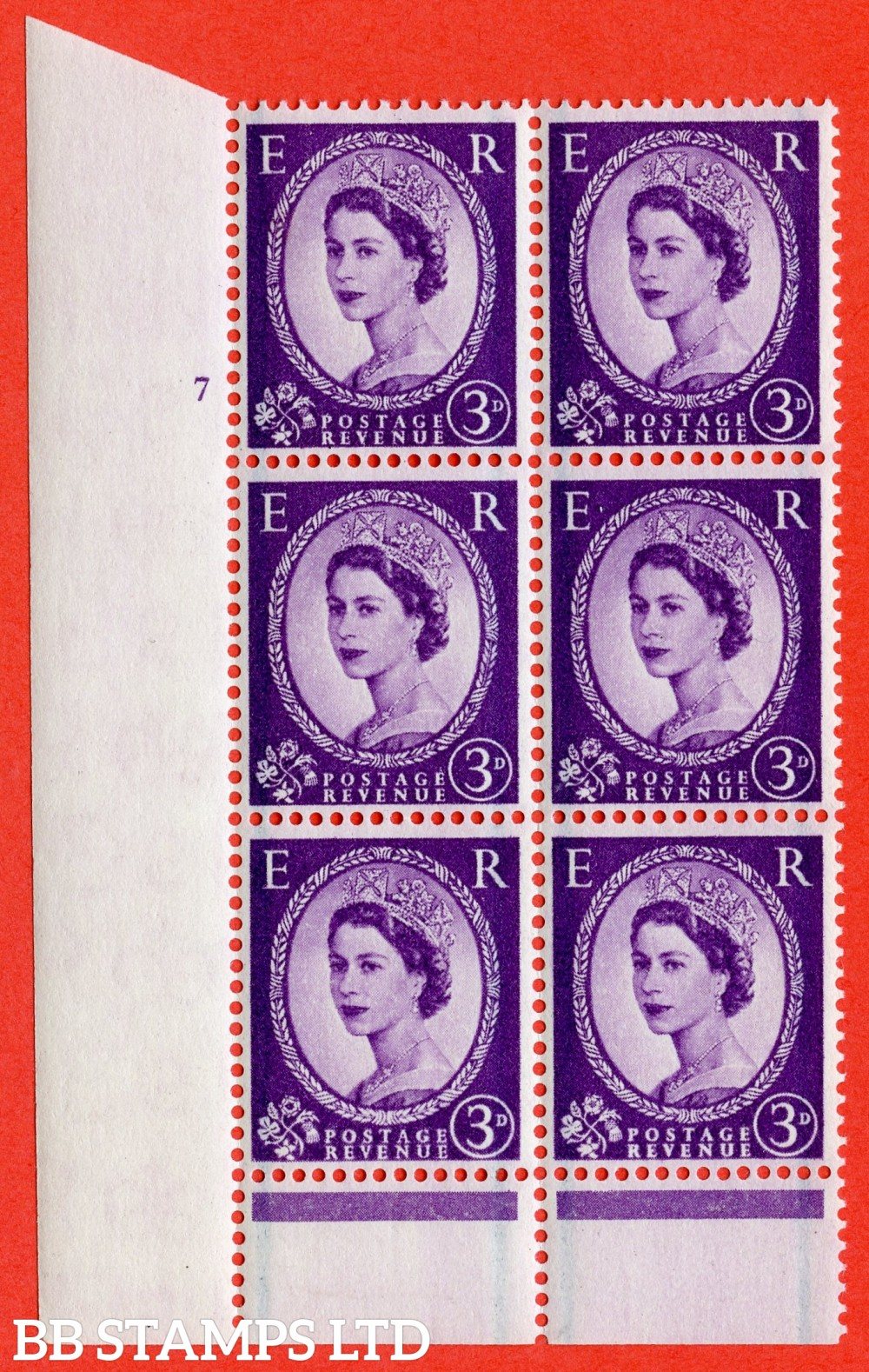 "SG. 566. S69. 3d Deep Lilac. A superb UNMOUNTED MINT"" cylinder 7 no dot "" control block of 6 with perf type B I/P."
