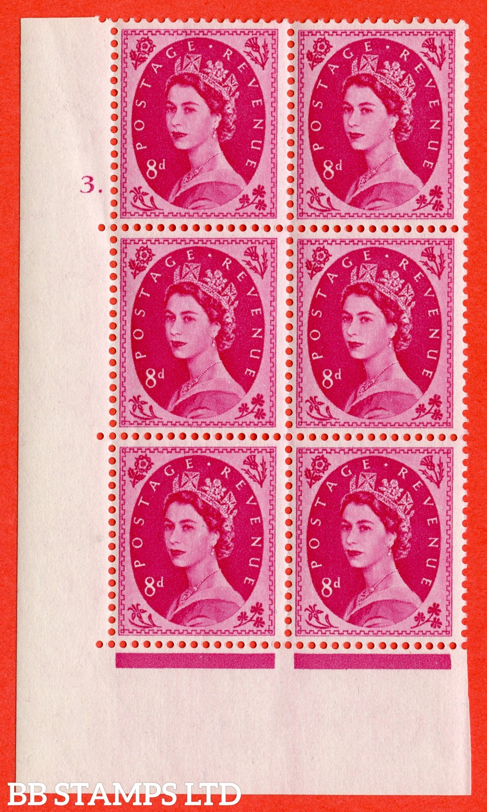 "SG. 550. S120. 8d. Magenta. A superb UNMOUNTED MINT "" cylinder 3 dot "" control block of 6 with perf type A E/I."