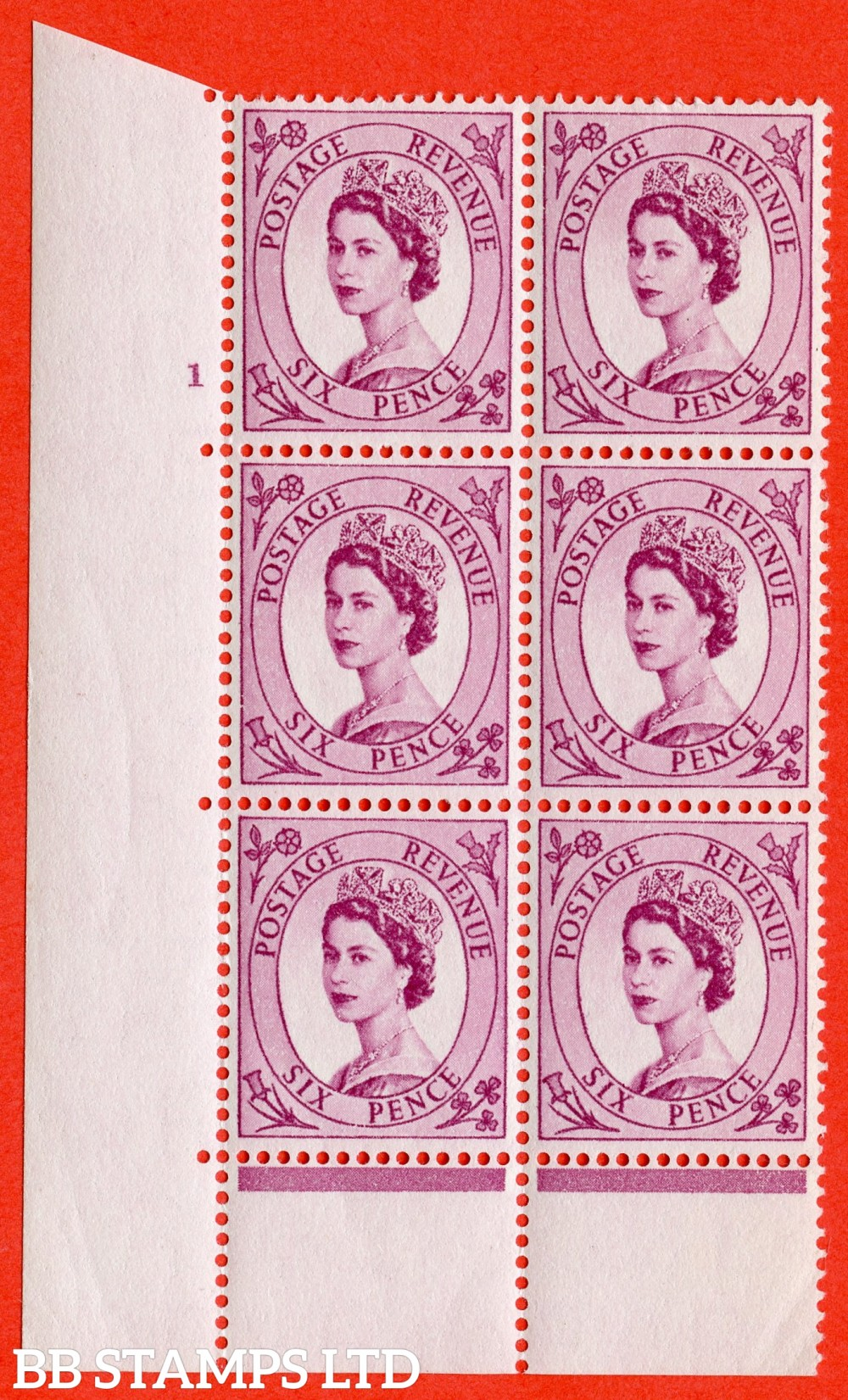 "SG. 548. S105. 6d. Reddish Purple. A superb UNMOUNTED MINT "" cylinder 3 no dot "" control block of 6 with perf type C E/P."