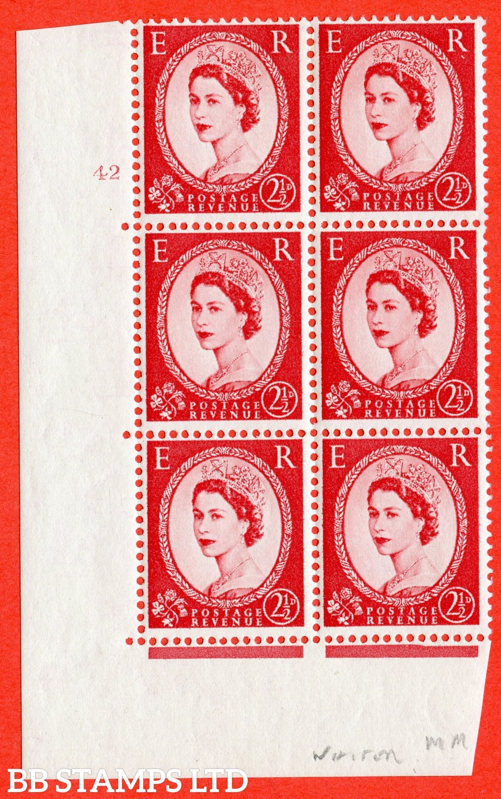 "SG. 574f. S56C. 2½d Carmine - red.Type I. A fine lightly mounted mint "" cylinder 42 no dot "" control block of 6 with perf type A E/I. WHITE paper."