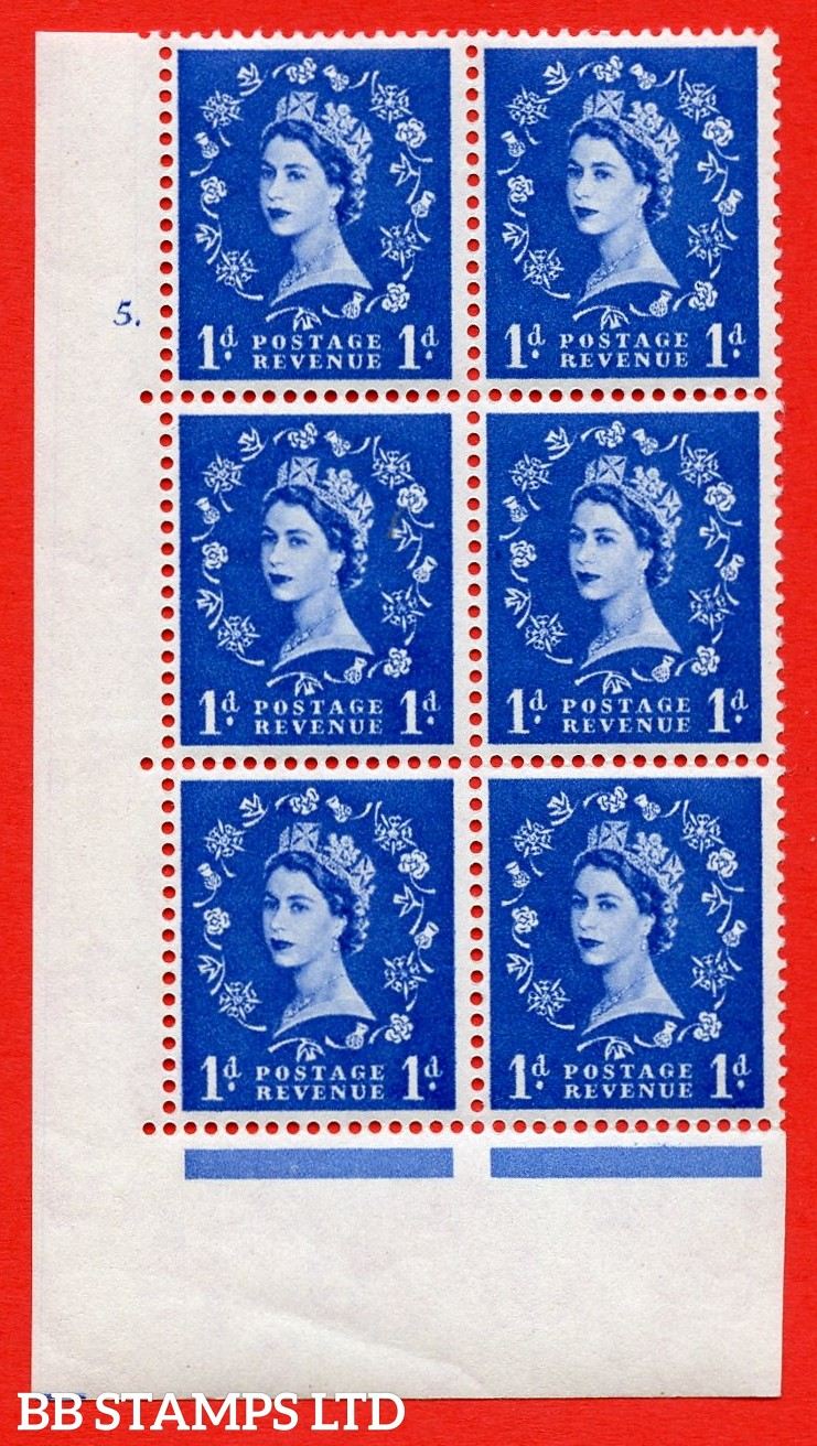 """SG. 571. S16. 1d Ultramarine. A superb UNMOUNTED MINT """" cylinder 5 dot """" control block of 6 with perf type A E/I. CREAM paper."""