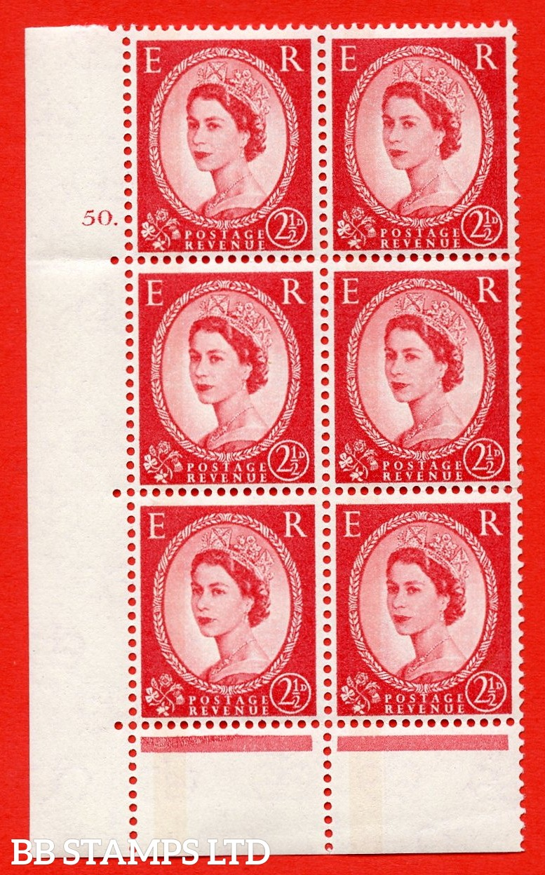 "SG.614a. S63a. 2½d Carmine red. Photo. A superb UNMOUNTED MINT "" cylinder 50 dot "" control block of 6 with perf type C (E/P). Blue Phosphor Cream paper."