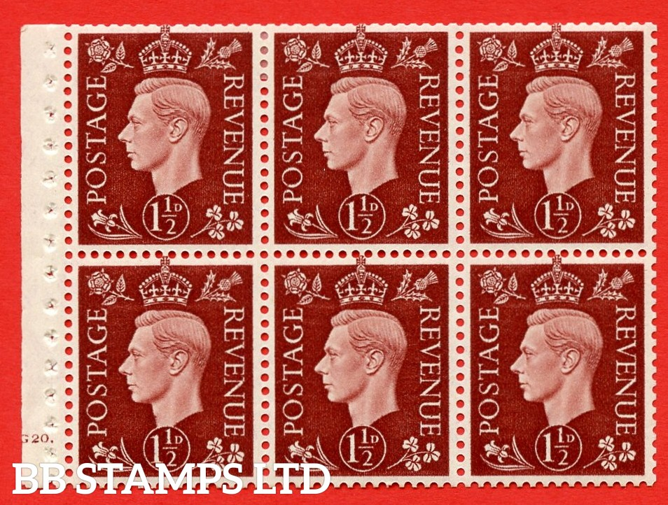 QB21 Perf Type B4A(I) 1½d Red-Brown x 6 Pane, MOUNTED MINT Watermark Upright. Cylinder Pane G20 dot ( SG. 464c ) Perf type B4A(I). Good Perfs.