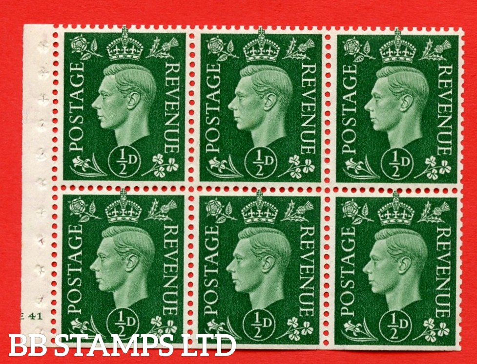 SG. QB1 Perf Type B3(I). ½d Green x 6 Pane, UNMOUNTED MINT Watermark Upright. Cylinder Pane E41 no dot ( SG. 462b ) Perf Type B3(I). Trimmed Perfs.