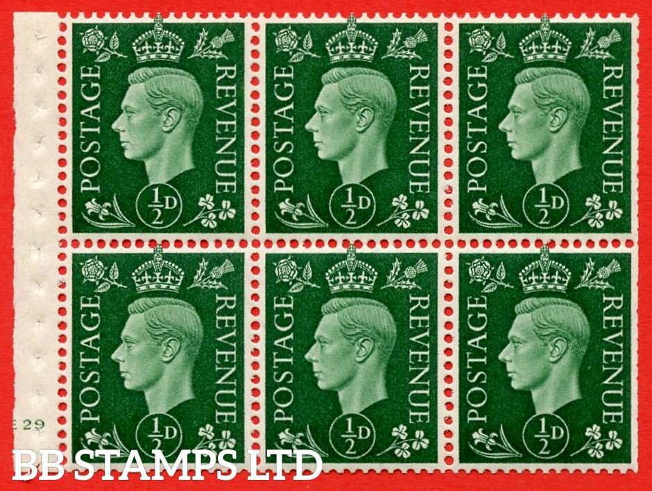 SG. QB1 Perf Type B3(I). ½d Green x 6 Pane, UNMOUNTED MINT Watermark Upright. Cylinder Pane E29 no dot ( SG. 462b ) Perf Type B3(I). Trimmed Perfs.