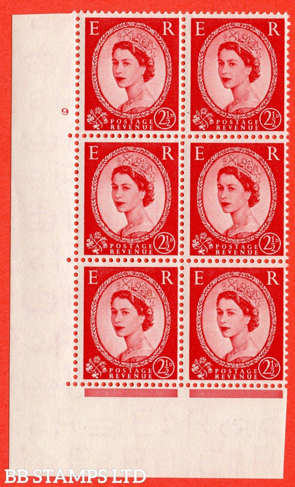 "SG. 519. S50. 2½d Carmine Red. A superb UNMOUNTED MINT "" cylinder 9 no dot "" control block of 6 with perf type A E/I."