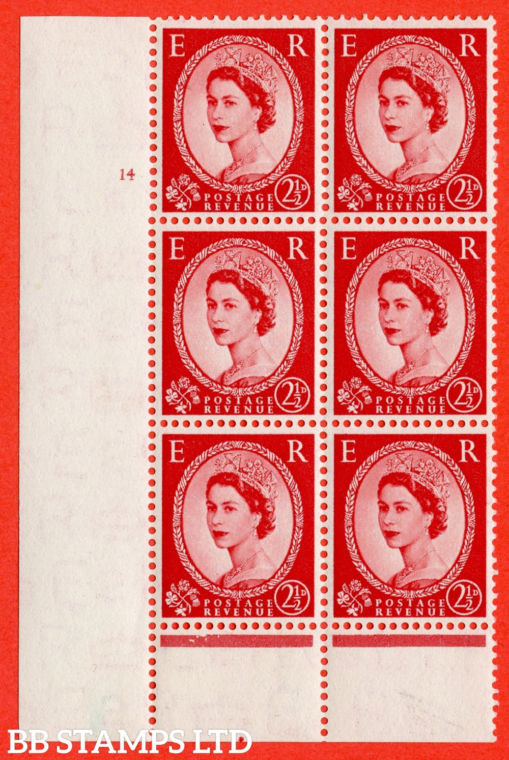 "SG. 519. S50. 2½d Carmine Red. A fine lightly mounted mint "" cylinder 14 no dot "" control block of 6 with perf type B I/P."