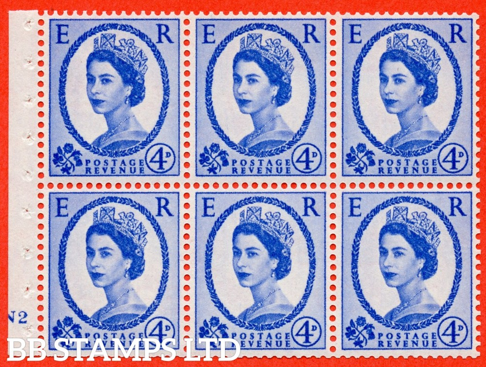 "SG. 576a. SB105. 4d Deep Ultramarine. A fine mounted mint cylinder "" N2 no dot "" booklet pane of 6. Perf type (I) with TRIMMED PERFS. Smooth edge. White paper."